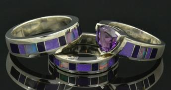 Sugilite wedding ring and engagement ring by Hileman