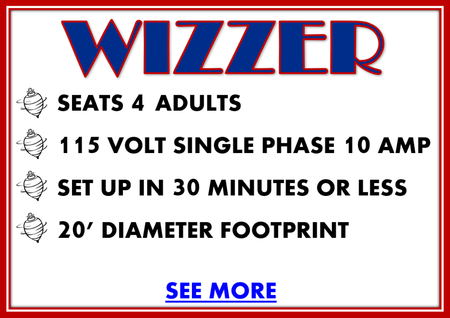 Wizzer carnival ride for rent details, seats 4 adults, 115 volt single phase 10 amp, set up in 30 minutes or less, 20' diameter footprint, see more