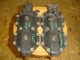395043 Used cylinder heads (1 set) for a 1985 120 hp Johnson or Evinrude outboard motor. OEM #395043