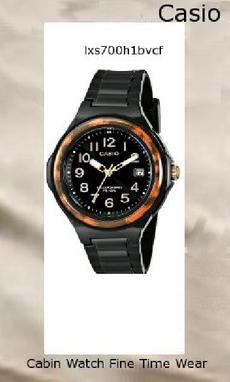 Watch Information Brand, Seller, or Collection Name Casio Model number LX-S700H-1BVCF Part Number LX-S700H-1BVCF Item Shape Round Dial window material type Mineral Display Type Analog Clasp Buckle Case material Resin Case diameter 40 millimeters Case Thickness 12.6 millimeters Band Material Resin Band length Women's Standard Band width 31.2 millimeters Band Color Black Dial color Black Bezel material Resin Bezel function Stationary Calendar Day Special features Solar powered, Glossy finish, Date display, 100m water resistant Movement Quartz Water resistant depth 330 Feet