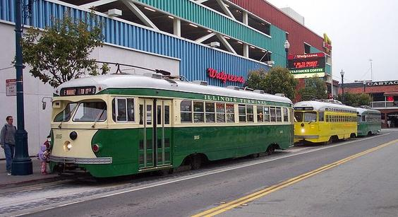 Three PCCs on the San Francisco Municipal Railway's F-line. Pictured are an example of one double-ended streetcar and two single-ended cars.