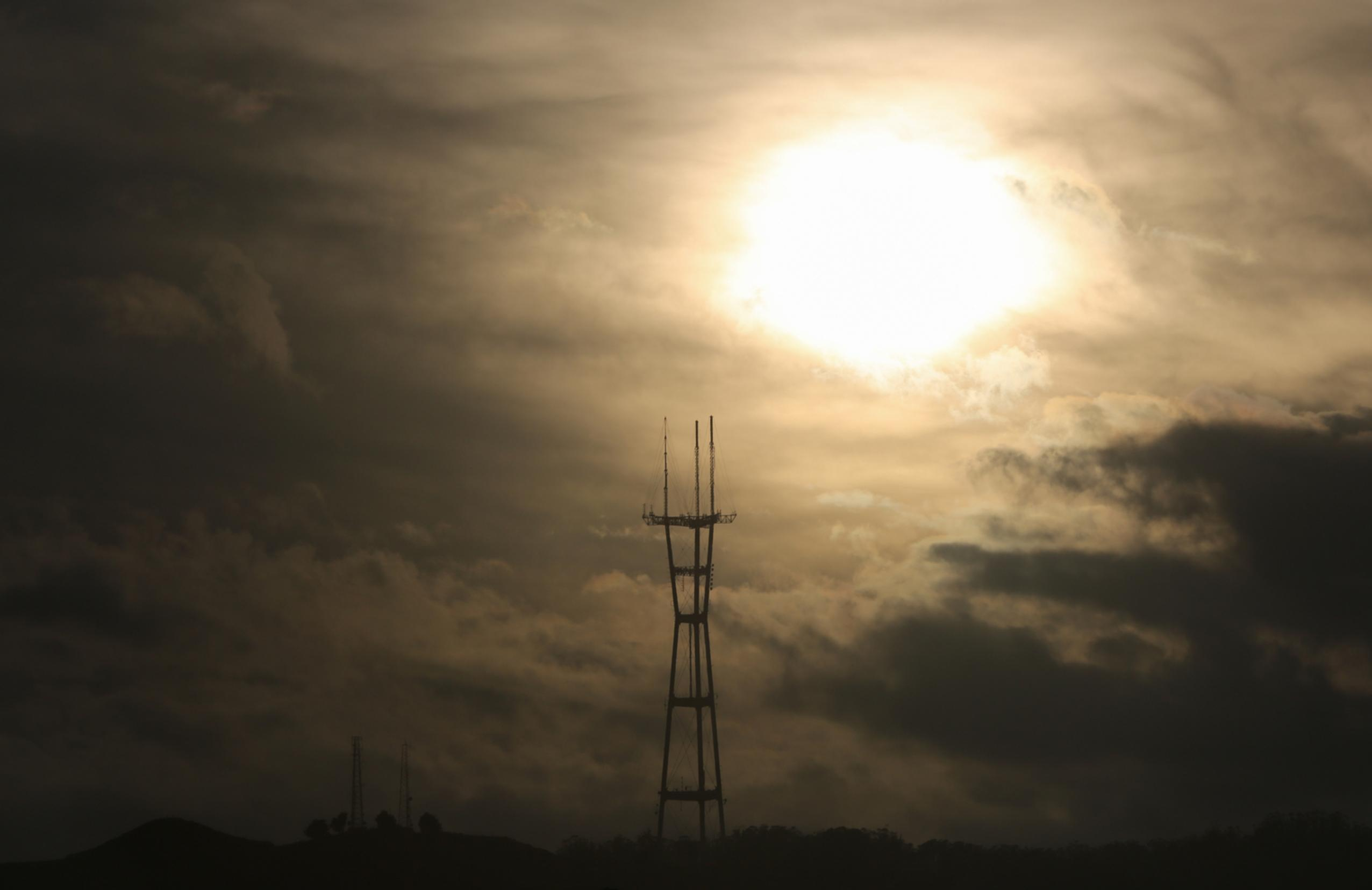 sutro tower clouds contrast summer sunset
