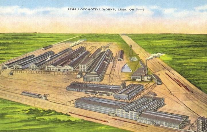 Postcard depiction of the Lima Locomotive Works in Lima, Ohio.
