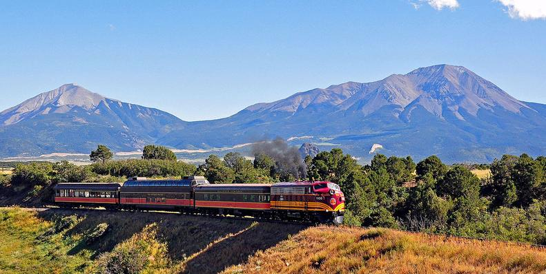 Rio Grande Scenic Railroad - La Veta to Alamosa, Colorado with East Spanish Peak at left and West Spanish Peak at right.