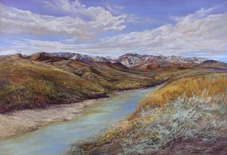 Snowy Peaks on the Rio Grande pastel landscape painting by Big Bend Artist Lindy Cook Severns along the River Road in winter