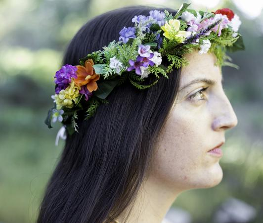 midsummer's crown, wildish crown, faerie, woodland, floral, flowers, wildish crown