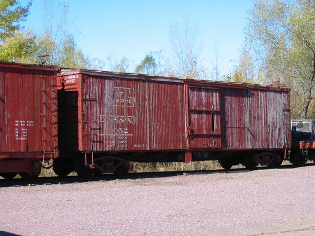 ​A Duluth, South Shore and Atlantic Railway boxcar on display at the Mid-Continent Railway Museum in North Freedom, Wisconsin.