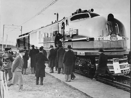 One of the steam turbine locomotives General Electric built for Union Pacific at the GE plant at Erie, PA, as the locomotive was prepared for a test run on December 20, 1938.