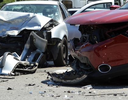 car wreckage of people in need of an automobile accident attorney in Worcester, MA.