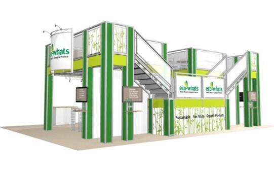 Eco-whats 30 x 40 double deck trade show booth exhibit side view.