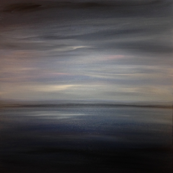 Fading Light 80x80cm. Original Contemporary gray and pink acrylic dreamy re-imagined seascape painting by Irish artist Orfhlaith Egan. Orlainberlin Kaiserin-Augusta-Allee 47, Charlottenburg, Berlin.
