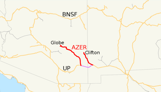 A map of the Arizona Eastern Railway as of 2009, with trackage rights in purple and other railroads in gray, Class I railroads in orange.