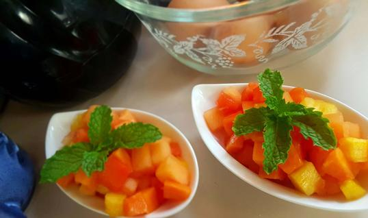 Bowls of Belize Fruit Cocktail - Fresh tropical fruit available for breakfast every morning!