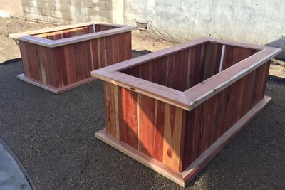 Construction grade redwood 2x4 with vertical slats, container garden 4'x4'x18""