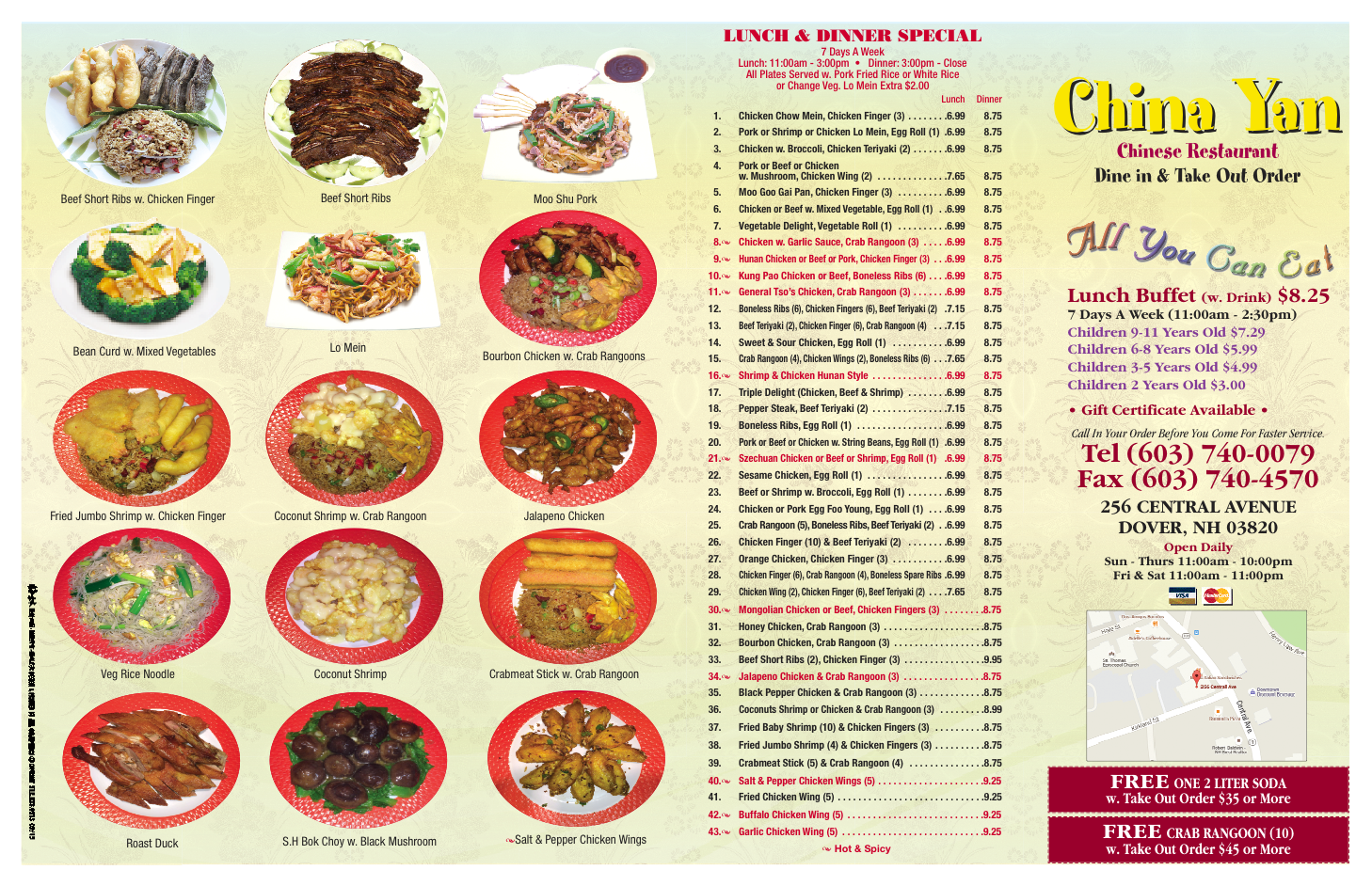Dover Chinese Food Menu