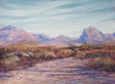 Autumn Color, West Texas Style pastel landscape painting, Iron Mountain near Marathon TX by Lindy C Severns