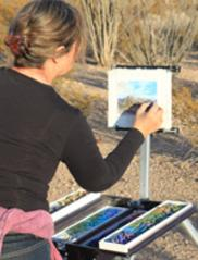 Lindy Cook Severns paints en plein air in Big Bend National Park