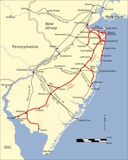 Map of the Southern New Jersey.