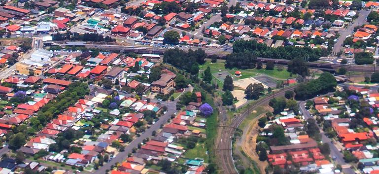 Wardell Road Junction from the air, an example of a park located within a triangular junction.