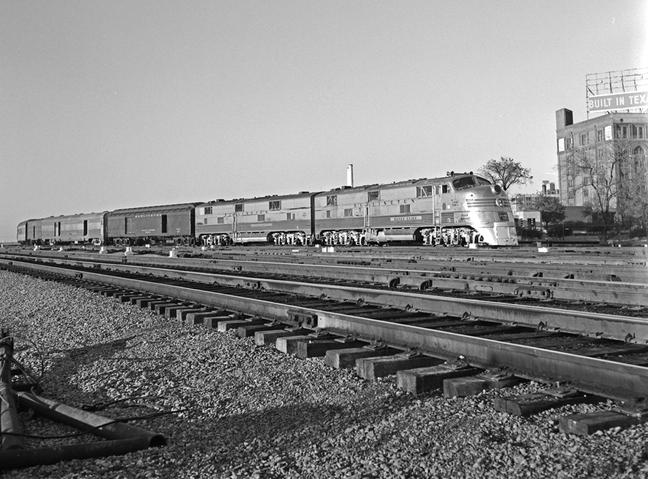 Fort Worth and Denver Diesel Electric Passenger Locomotive No. 9980A at Dallas, Texas, January 1, 1959.