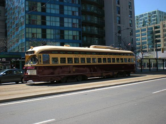 A PCC streetcar in operation on the Toronto Transit Commission's 509 Harbourfront line.