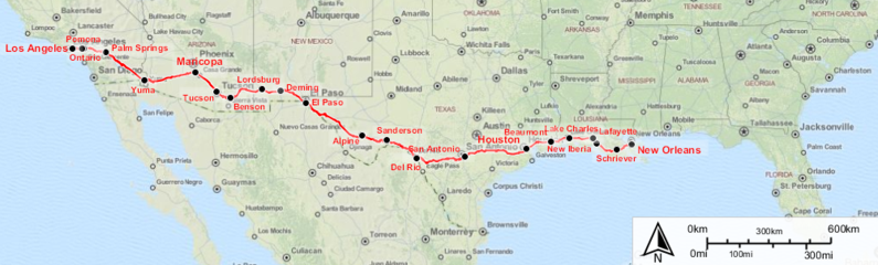 Route Map of the Sunset Limited.