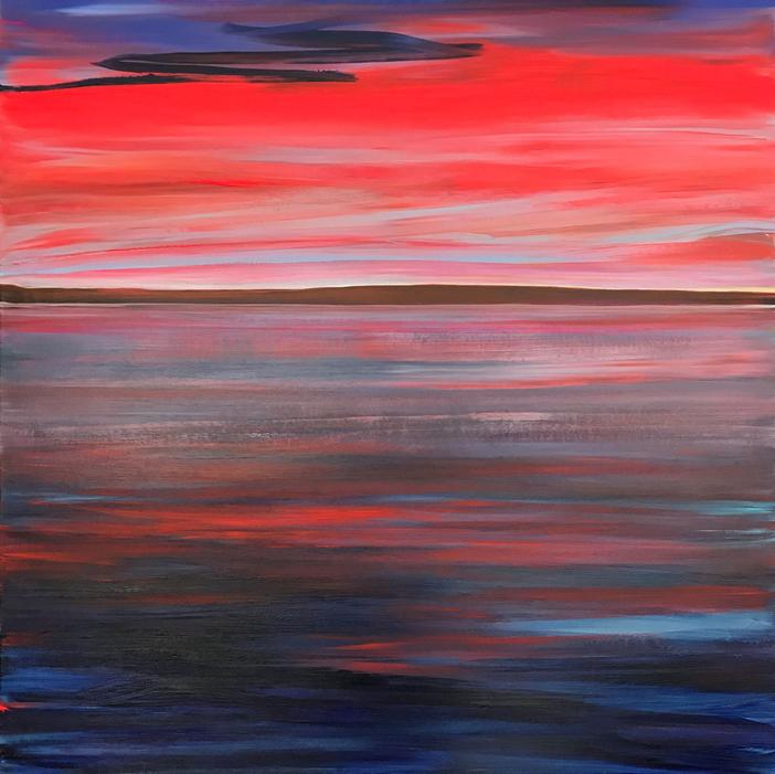 The Painted Sky 2019. 100x100cm. Acrylic paint on canvas, varnished. Colors of the sky reflected in the lake by Orfhlaith Egan, Berlin and Cornamona.