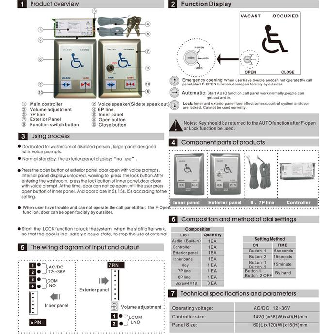 Instruction for the handicap door switch