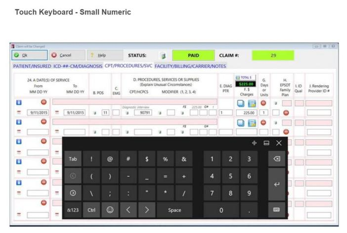 Touch Keyboard - Small Numeric