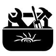 black artwork on a white background of a toolbox with the See The Future Fund logo on the side. The toolbox contains a wrench, screwdriver, and hammer