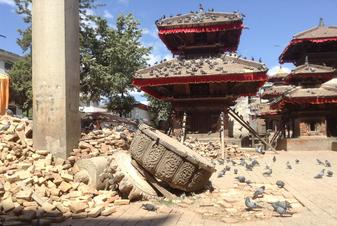 Earthquake damage in Durbar Square in Kathmandu, Nepal