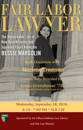 Poster for Marlene Trestman's Book Talk at Yale Law School