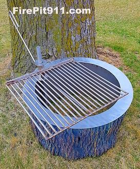 "alt=""tree stump fire pit with grill """