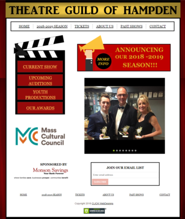 Theatre Guild of Hampden website designed by CLICK WebDesigns