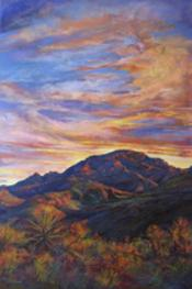 Sunset Paints Chinati, large pastel landscape painting by Lindy Cook Severns