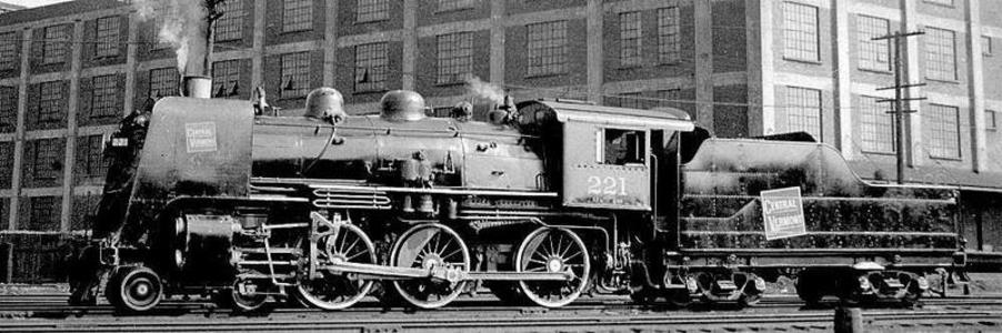Central Vermont 4-6-0 No. 221 with smoke deflectors.