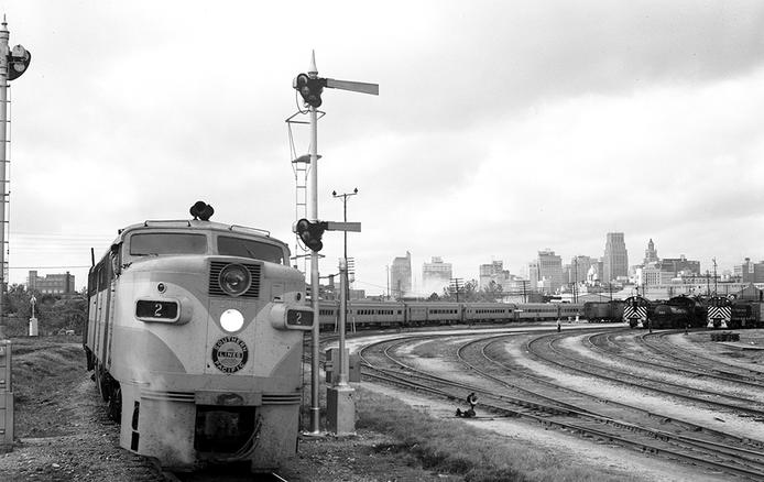 Diesel Locomotive No. 206, Sunset Limited, Southern Pacific Railroad Company, Houston, Texas, 1951.