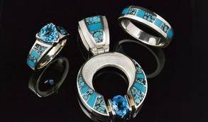 Turquoise engagement rings, wedding rings and jewelry by Hileman Silver Jewelry.
