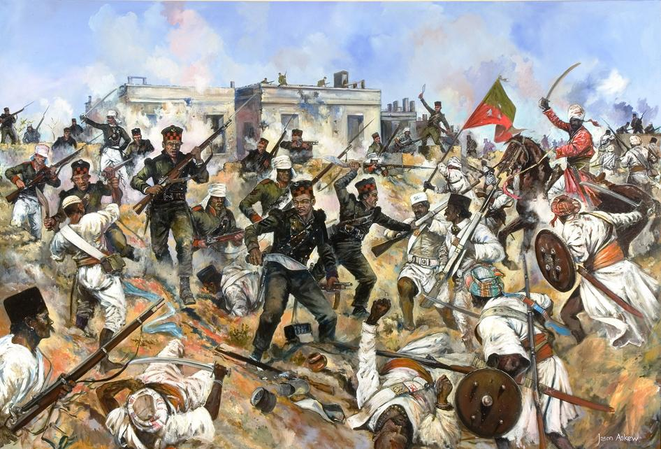 Jason Askew painting showing Gurkhas with kukris during the Siege of Delhi in 1857