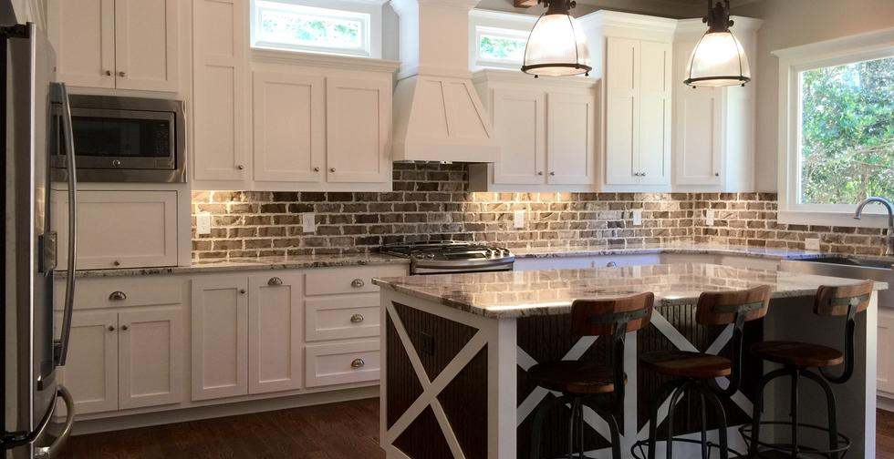 Made in America from Real Wood Custom Kitchen Cabinets and Island Cabinet with Granite Tops