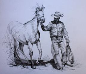 Whispering, graphite drawing of cowboy and horse by Lindy Cook Severns
