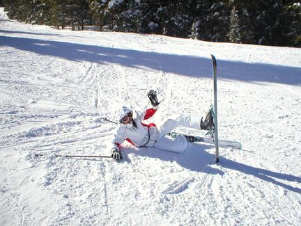 Photo of Jing Liu after a benign fall skiing
