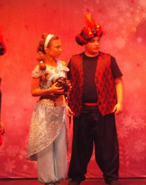 Princess Jasmine (Rachel McAuliffe) with Head Guard (George Rees)