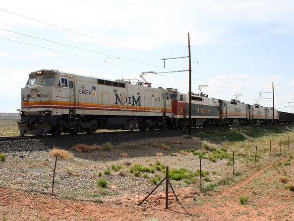A former NdeM E60 leads a train on the Black Mesa and Lake Powell Railroad in 2007.