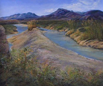 The River Between the Lands, pastel landscape painting of the Rio Grande by Big Bend Artist Lindy Cook Severns, Old Spanish Trail Studio, Fort Davis, TX