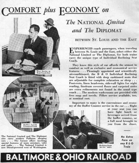 Promotional ad regarding the coach accomodations on trains The National Limited and The Diplomat from the Baltimore and Ohio railroad's employee magazine from August 1938.