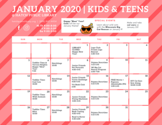 January 2020 Calendar Hatch Public Library