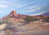 SkySwept Texas, large pastel landscape study by Lindy C Severns, Old Spanish Trail Studio, Fort Davis TX. Casa Grande, Big Bend National Park