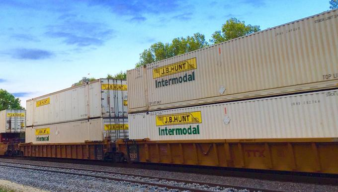 J.B. Hunt intermodal containers on well cars.