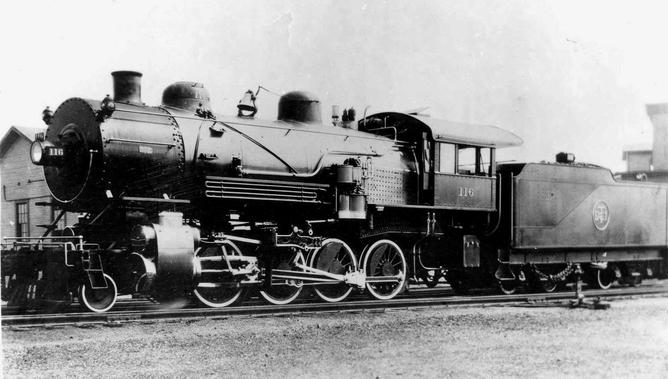 2-8-0 No. 116 had raised initials on the tender and metal numbers on the dome and cab, typical of DT&I locomotives of the era.